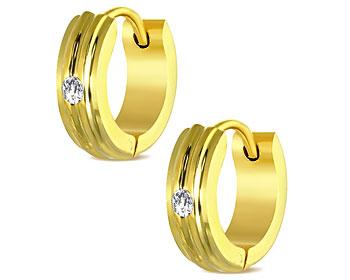 Guldfärgade örhängen i stål. 13x4 mm.