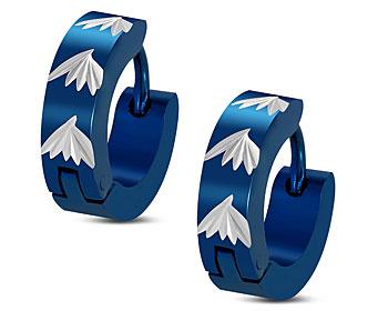 Stålörhängen blåa. 14x4 mm.