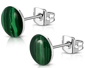 Gröna örhängen i stål. 9,5 mm.