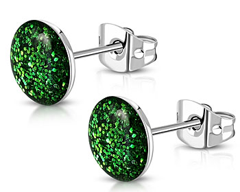 Gröna örhängen. 8 mm.