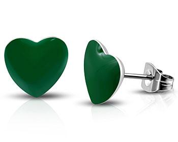 Örhängen med grönt hjärta. 7x7 mm.