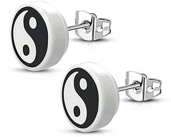 Yin-Yang örhängen. 10 mm.