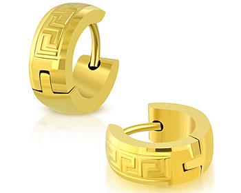 Stålörhängen guldfärgade. 13x5 mm.