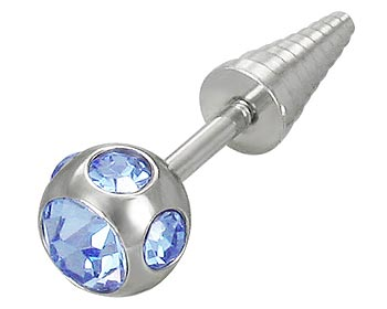 Piercingsmycke på nätet. Tjocklek cirka 1,2 mm, längd cirka 5 mm.