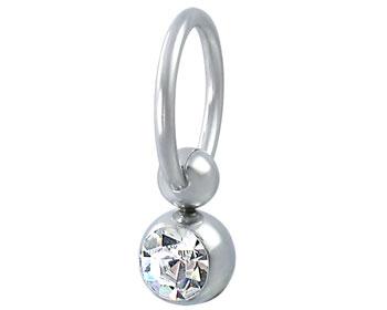 Piercing i kirurgiskt stål. Tjocklek cirka 1 mm. Inre diameter cirka 9 mm.
