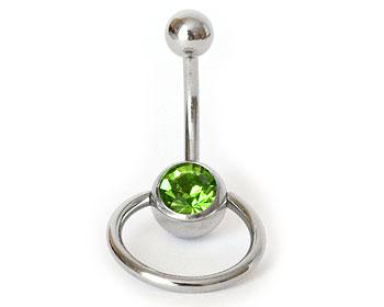 Grön navelpiercing. Längd cirka 1 cm, tjocklek cirka 1,6 mm.