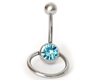 Blått piercingsmycke till navel. Längd cirka 1 cm, tjocklek cirka 1,6 mm.