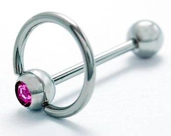 Piercingsmycke online. Tjocklek cirka 1.6 mm, stavlängd cirka 17 mm, diameter bcr cirka 12 mm.