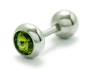Grön öronpiercing. Tjocklek cirka 1.2 mm, längd cirka 6 mm.