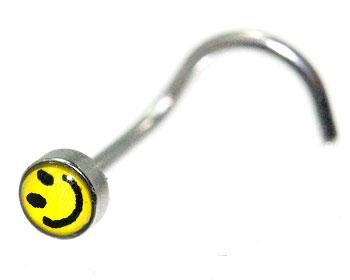 Smileysmycke till näsa. Tjocklek cirka 0.8 mm.