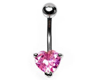 Hjärtformad navelpiercing med rosa hjärta. Tjocklke cirka 1.6 mm.