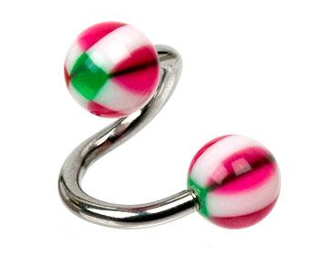 Spiral till piercing. Kulstorlek 6 mm.