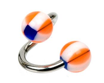 Spiral för piercing. Kulstorlek 6 mm.