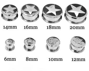 Stålpiercing för öra 6-20 mm. Pris per storlek.