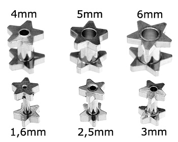 Piercing i kirurgiskt stål, 1,6-6 mm.