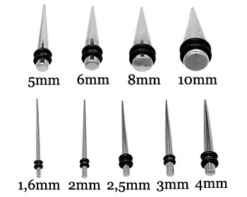 Stavtöjningspiercing 1,6-10 mm. Pris per storlek.